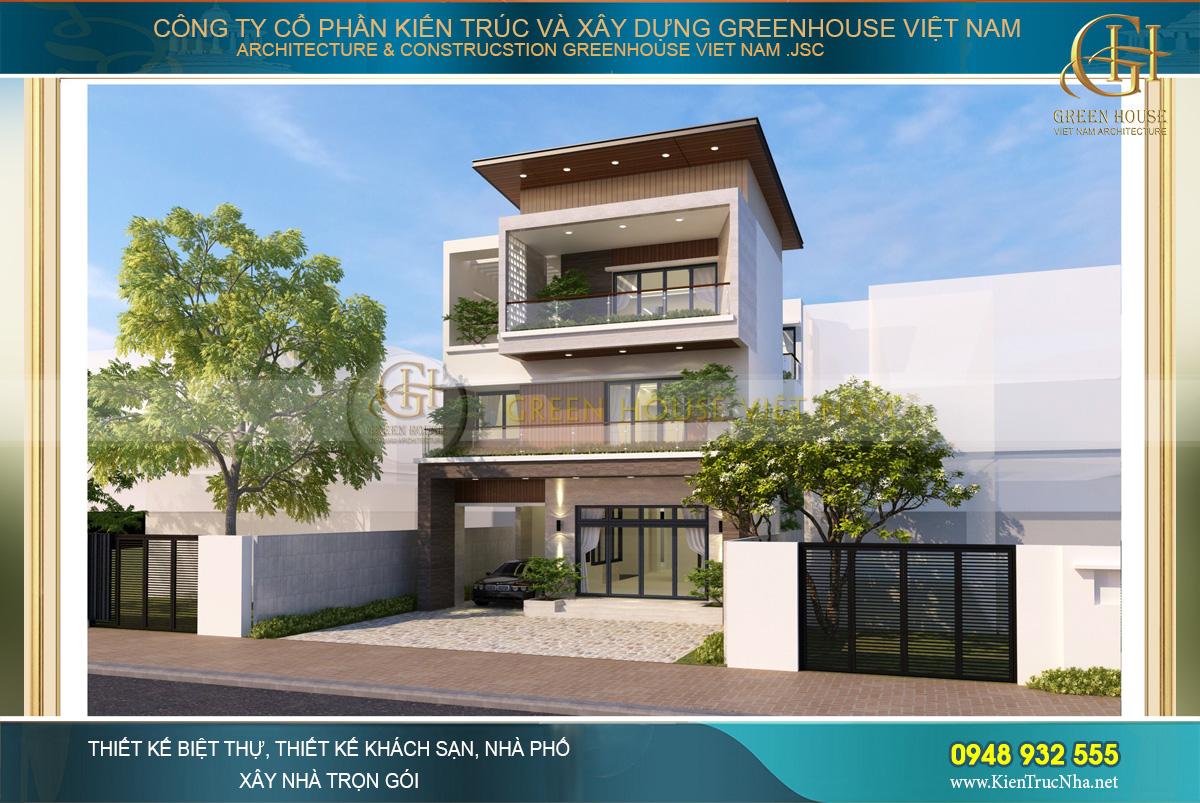 Biệt thự 3 tầng mang phong cách hiện đại với màu sắc và những mảng khối kiến trúc mạnh mẽ, nổi bật
