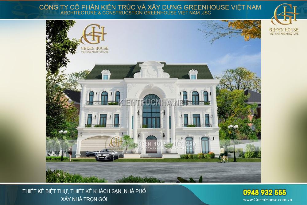 Thiết kế mái ngói cổ điển với màu xanh bắt mắt, kết hợp tông màu trắng nổi bật hơn bất kì công trình nào khác