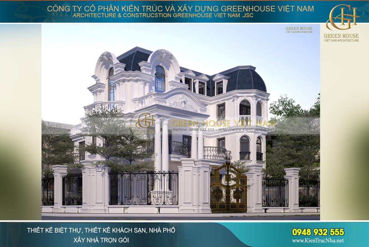 Hệ mái Mansard làm hoàn mỹ thêm vẻ đẹp đẳng cấp hoàng gia của mẫu biệt thự cổ điển này