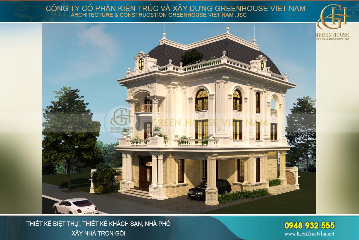 Phối cảnh ngoại thất của biệt thự tân cổ điển 3 tầng đẹp quyền lực và đáng ngưỡng mộ
