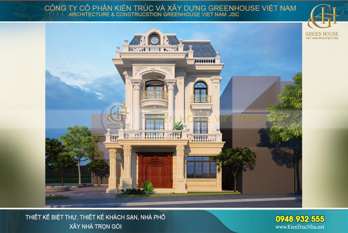 Phối cảnh mặt tiền của biệt thự tân cổ điển 4 tầng tại Quảng Ninh