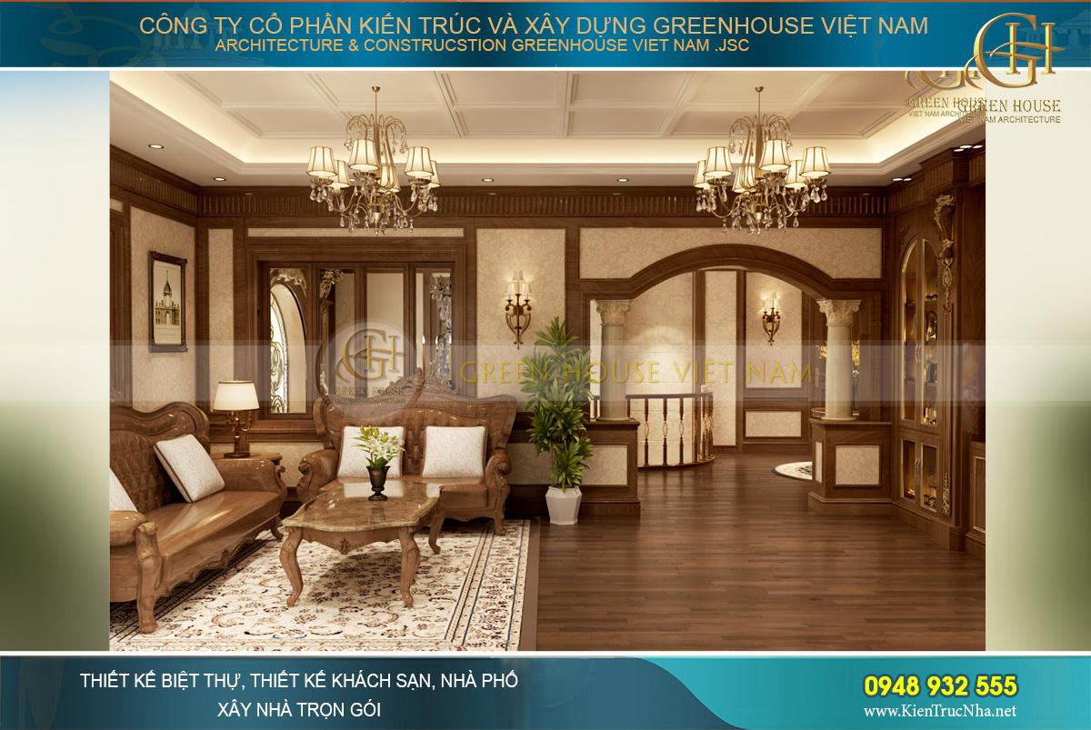 Không gian nội thất toàn gỗ mang đến sự sang trọng