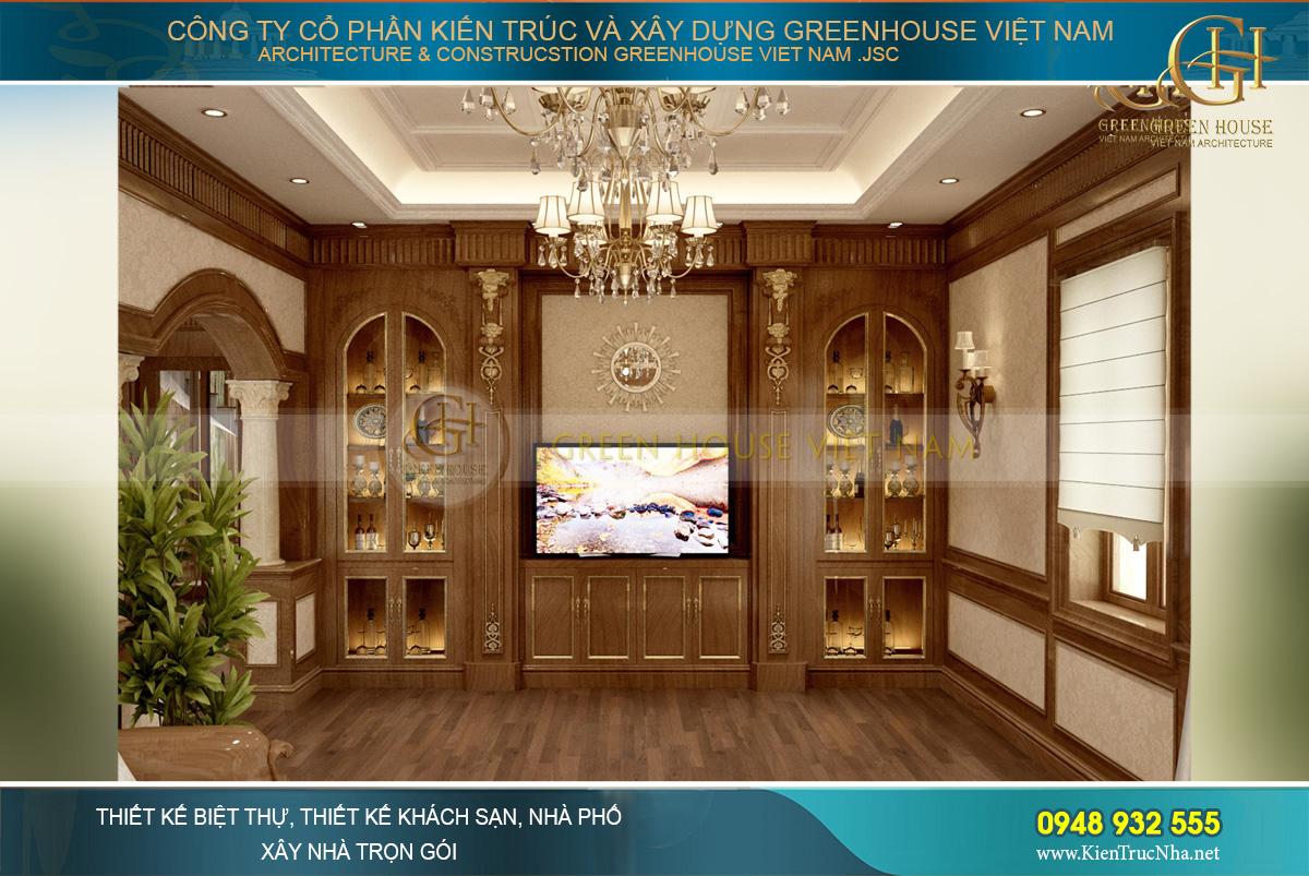 Thiết kế các đồ nội thất như kệ TV kết hợp tủ rượu, tủ trang trí đối xứng đẹp hoàn mỹ