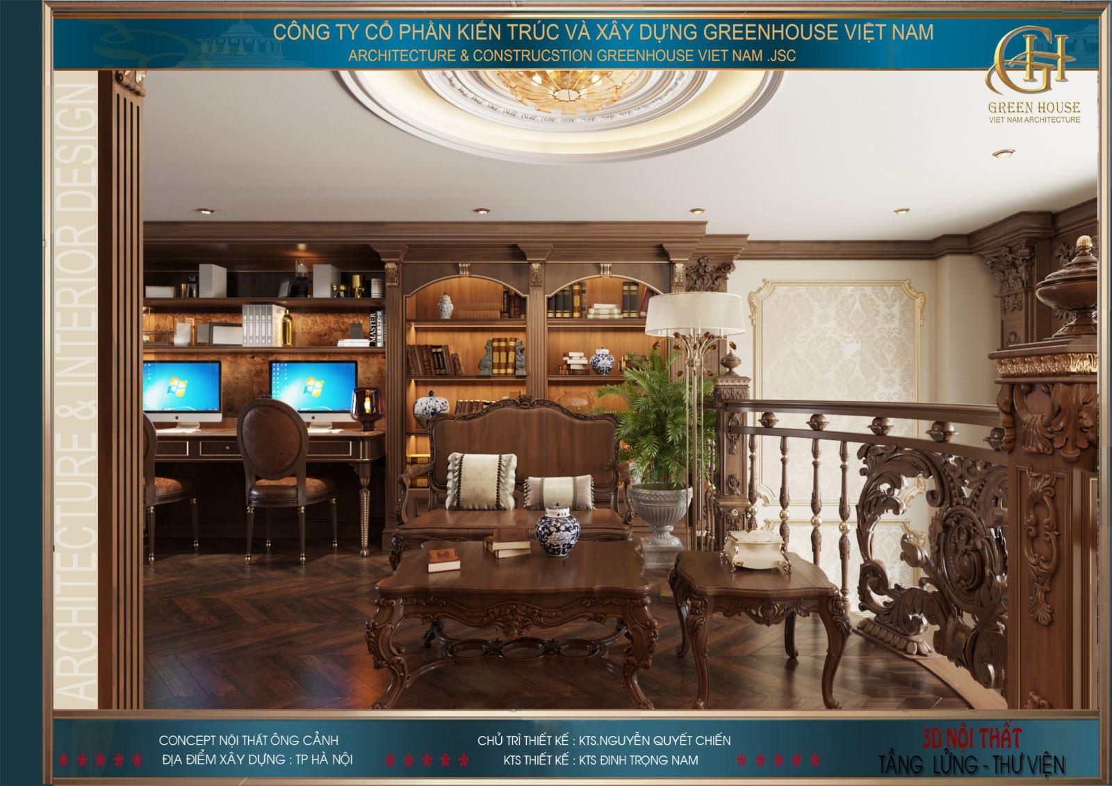 Toàn bộ đồ nội thất kết hợp tạo nên không gian sang trọng