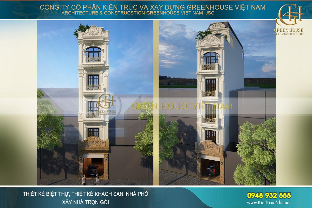 Phối cảnh mặt tiền của nhà ống 5 tầng phong cách tân cổ điển tại Tây Hồ Hà Nội