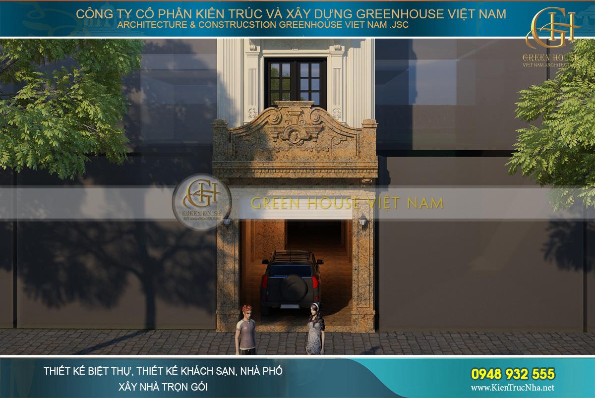 Thiết kế tầng 1 của nhà phố tân cổ điển với ánh vàng kim nổi bật và sang trọng