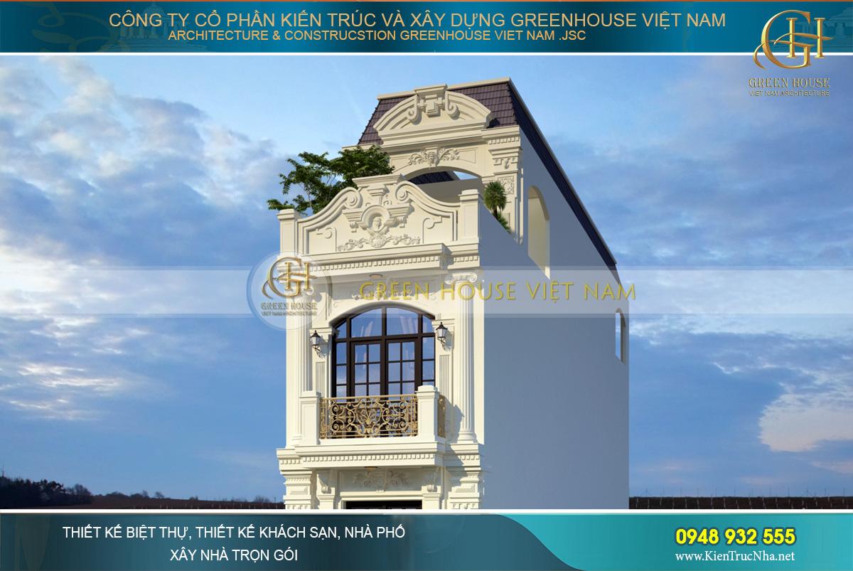 Hệ mái mansard được biến tấu phù hợp với thiết kế nhà phố và yêu cầu của gia chủ