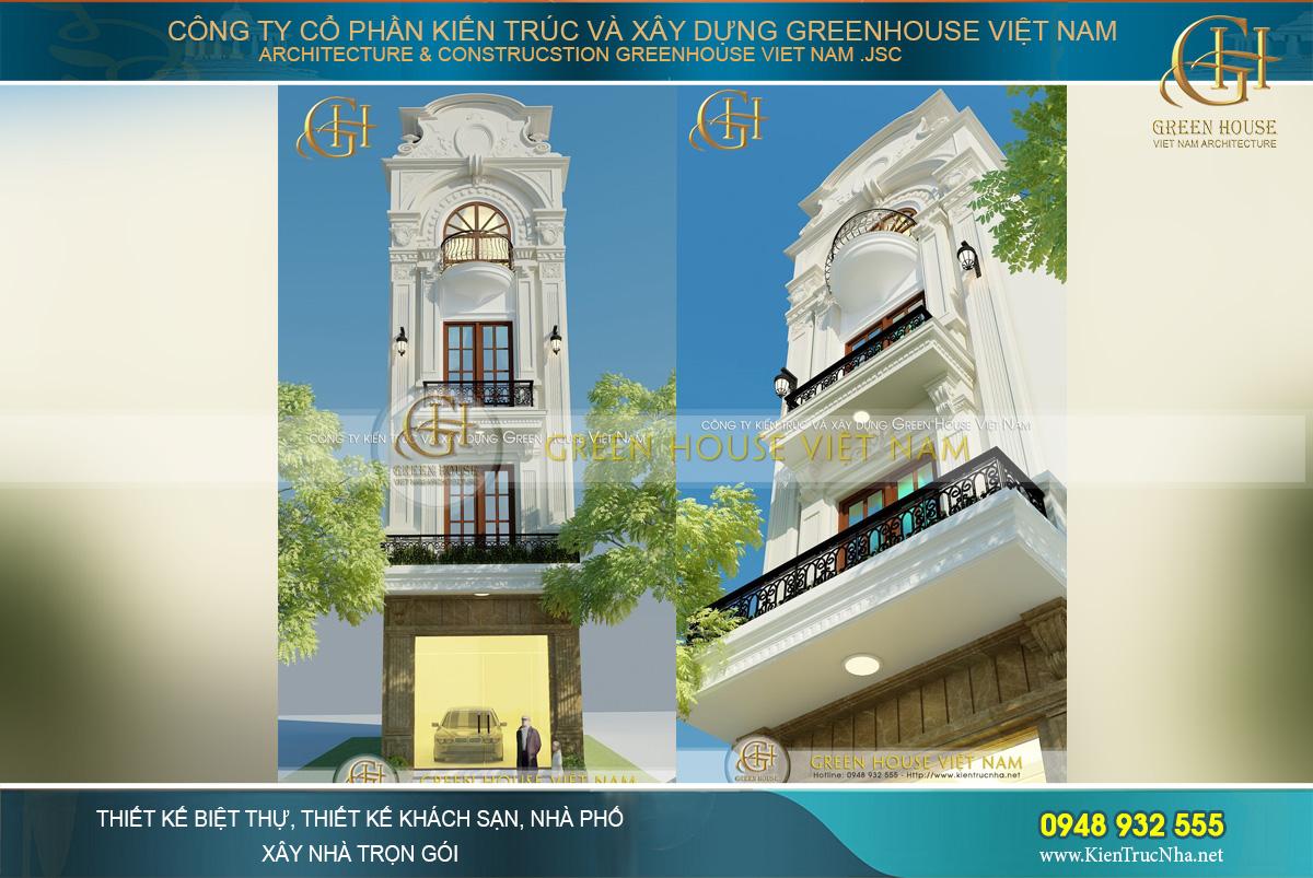 Đường nét kiến trúc tinh tế, mềm mại đặc trưng của phong cách tân cổ điển mang đến sự sang trọng và hấp dẫn cho ngôi nhà
