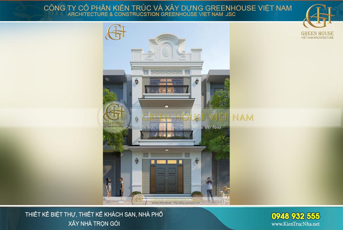 Bản vẽ thiết kế 3D toàn cảnh mặt tiền sang trọng của ngôi nhà phố