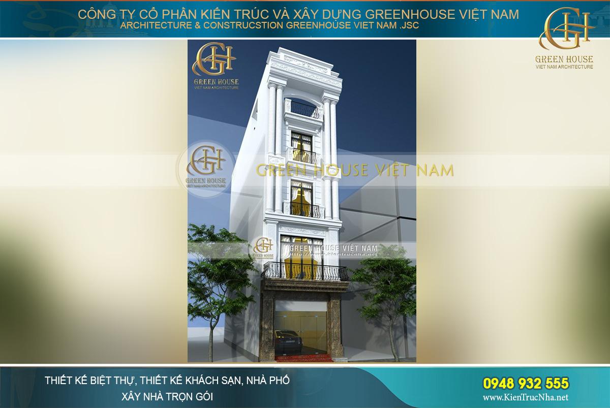 Tổng quan kiến trúc mặt tiền sang trọng của ngôi nhà phố 5 tầng tân cổ điển tại Hà Nội