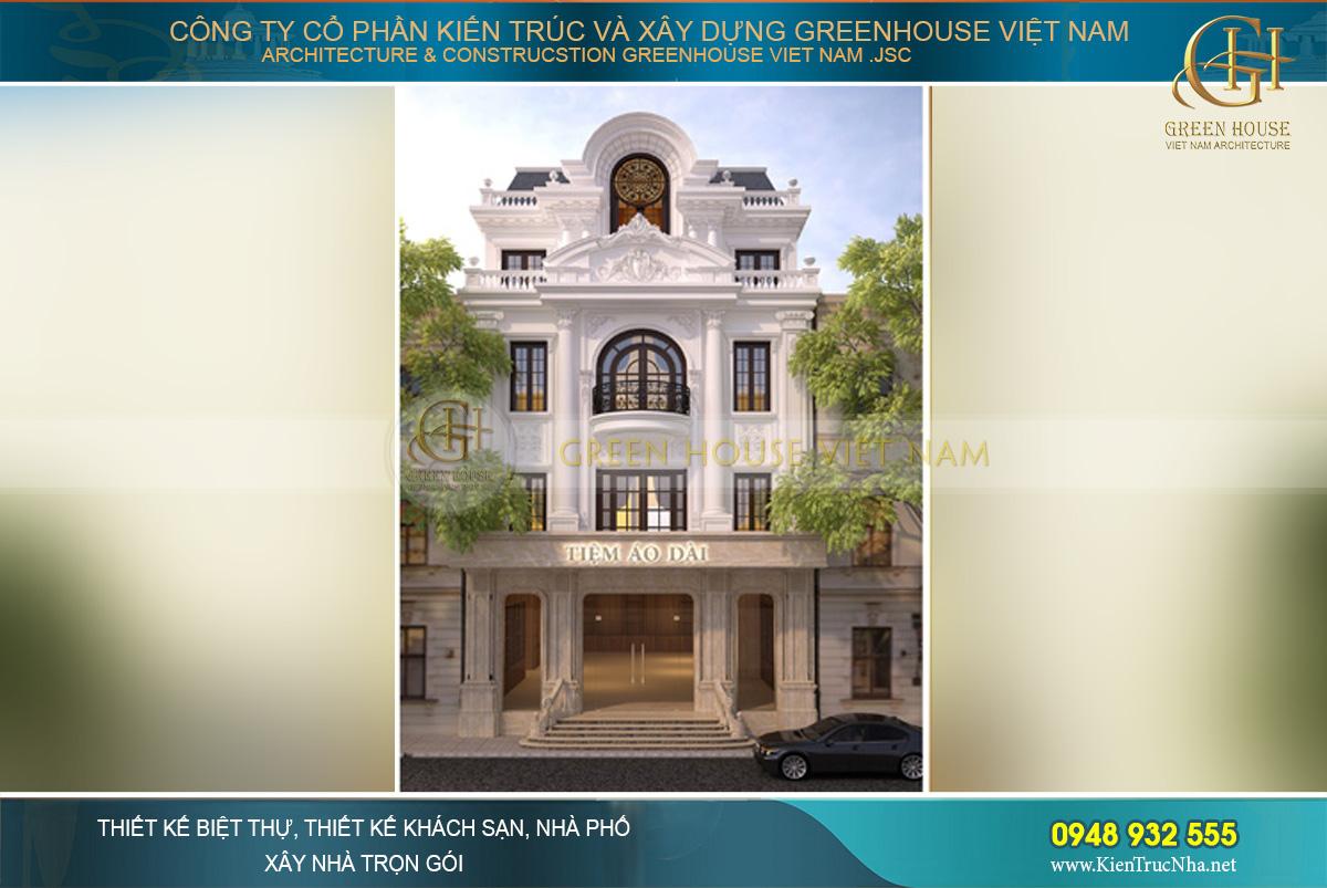 Kiến trúc mặt tiền khang trang và vô cùng bề thế của ngôi biệt thự tân cổ điển 3 tầng