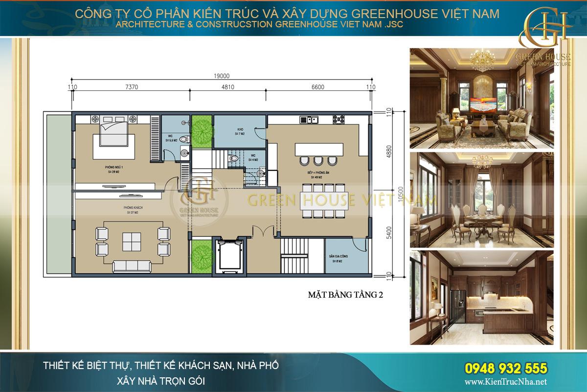 Bố trí công năng tầng 2 với, phòng khách, phòng bếp và phòng ăn và phòng ngủ
