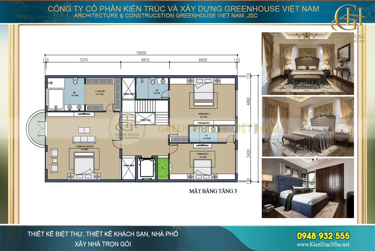 Tầng 3 là nơi bố trí phòng ngủ cho cả gia đình và phòng sinh hoạt chung