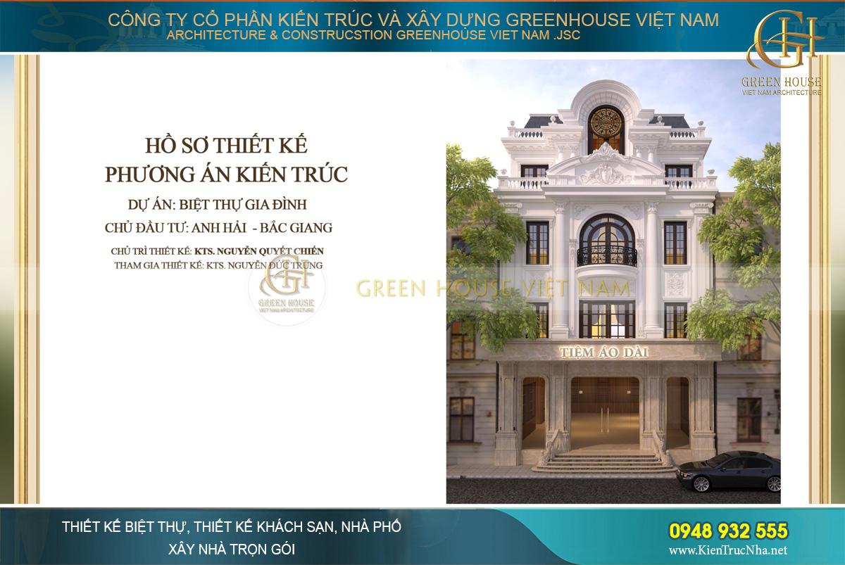 Thiết kế biệt thự tân cổ điển kết hợp kinh doanh tiệm áo dài tại Bắc Giang