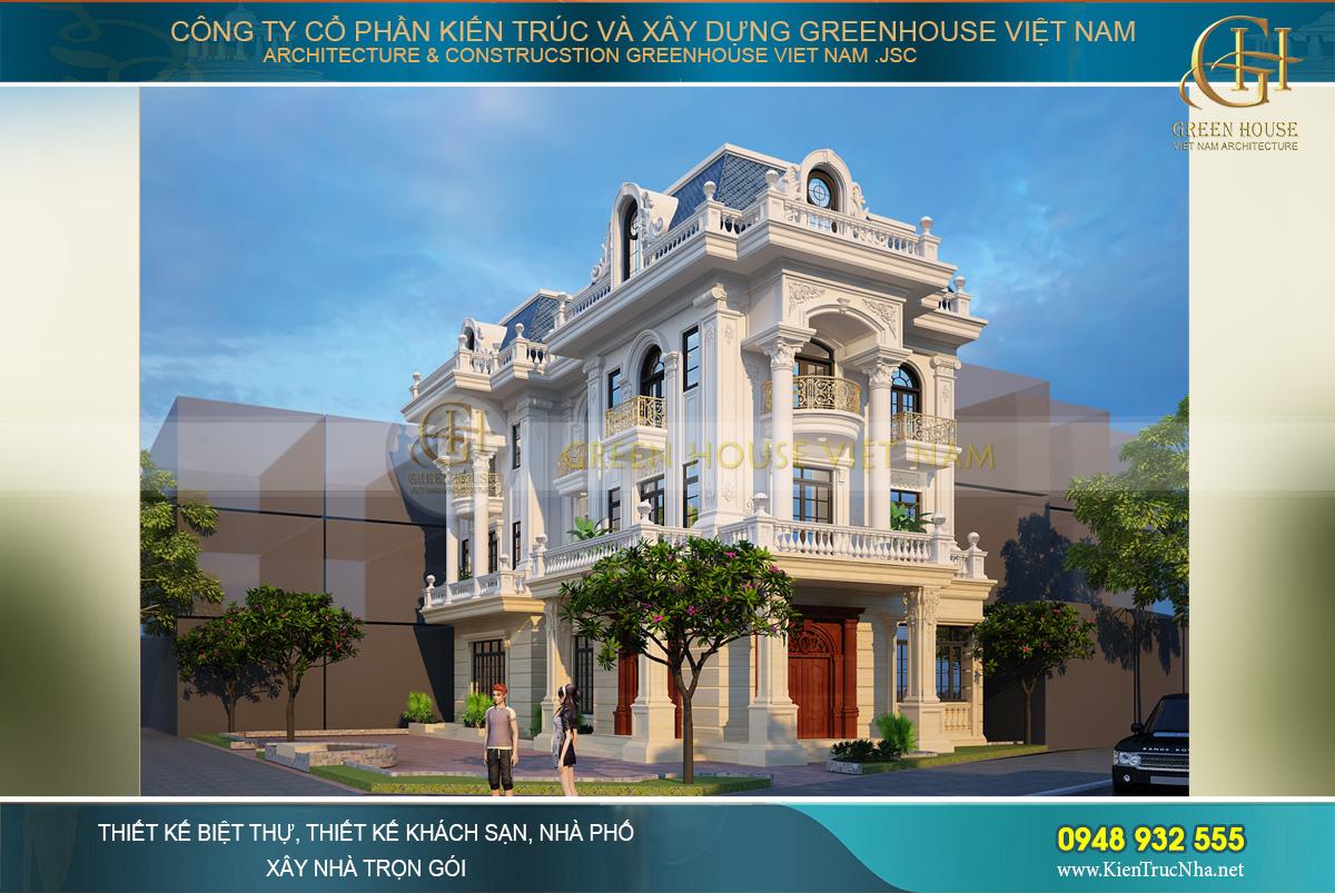 Thiết kế biệt thự tân cổ điển 4 tầng với sự đa dạng màu sắc nhưng vô cùng tinh tế và sang trọng