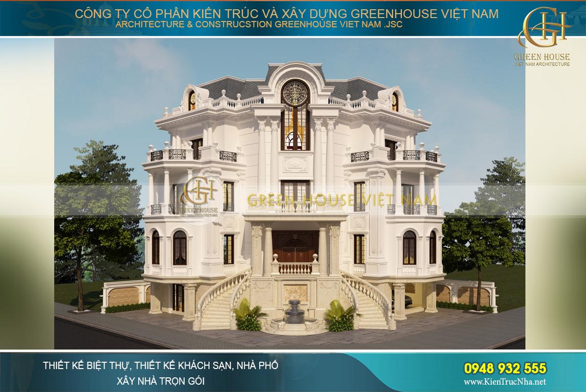 Phối cảnh 3 mặt tiền của biệt thự cổ điển kiến trúc Pháp tại Bắc Giang