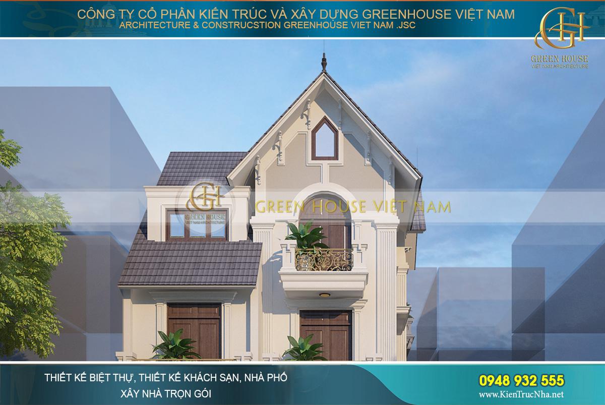 Hệ mái Thái dốc cùng tone màu xám của ngói lợp tôn thêm vẻ đẹp cho biệt thự