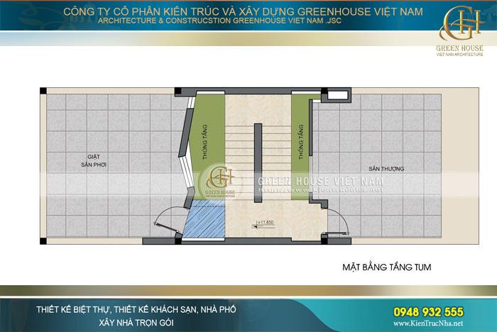 Tầng tum là thiết kế mở rộng thêm nâng cao nhu cầu sinh hoạt cho gia chủ với khu vực sân thượng và sân giặt phơi