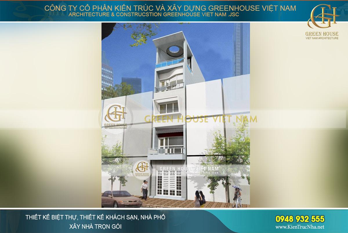 Bản thiết kế cảnh quan cụ thể mặt tiền của ngôi nhà phố 5 tầng tại Thái Nguyên với vẻ đẹp thời thượng và hiện đại