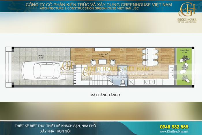 Diện tích mặt bằng tầng 1 với không gian để xe oto, khu vực phòng khách nhỏ, phòng bếp cùng phòng ăn