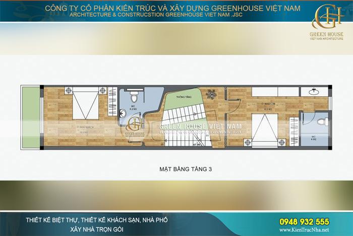 Mặt bằng tầng 3 là không gian phòng ngủ riêng tư của các thành viên trong gia đình