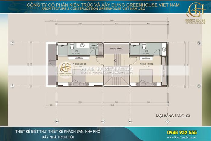Tầng 3 và 4 được dành để thiết kế phòng ngủ cho các thành viên trong gia đình