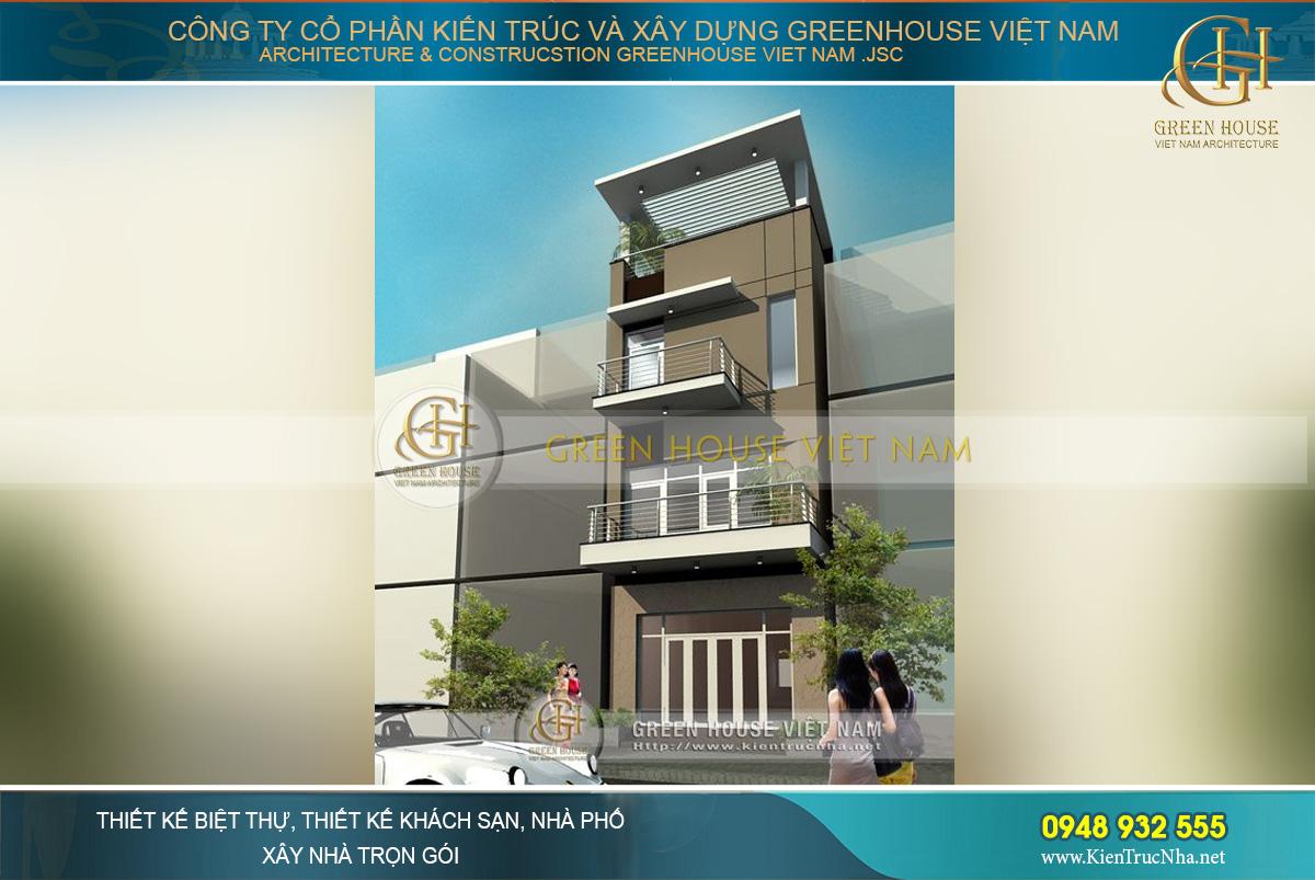 Tổng quan kiến trúc ngôi nhà lô 3 tầng 1 tum với phong cách thiết kế hiện đại, cấu trúc xây dựng vững chãi