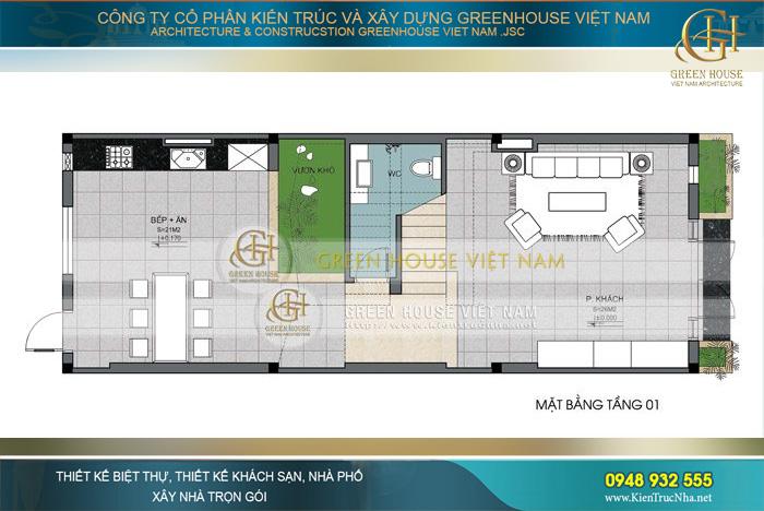 Tầng 1 dành diện tích lớn cho khu vực phòng khách cùng khu vực bếp và phòng ăn