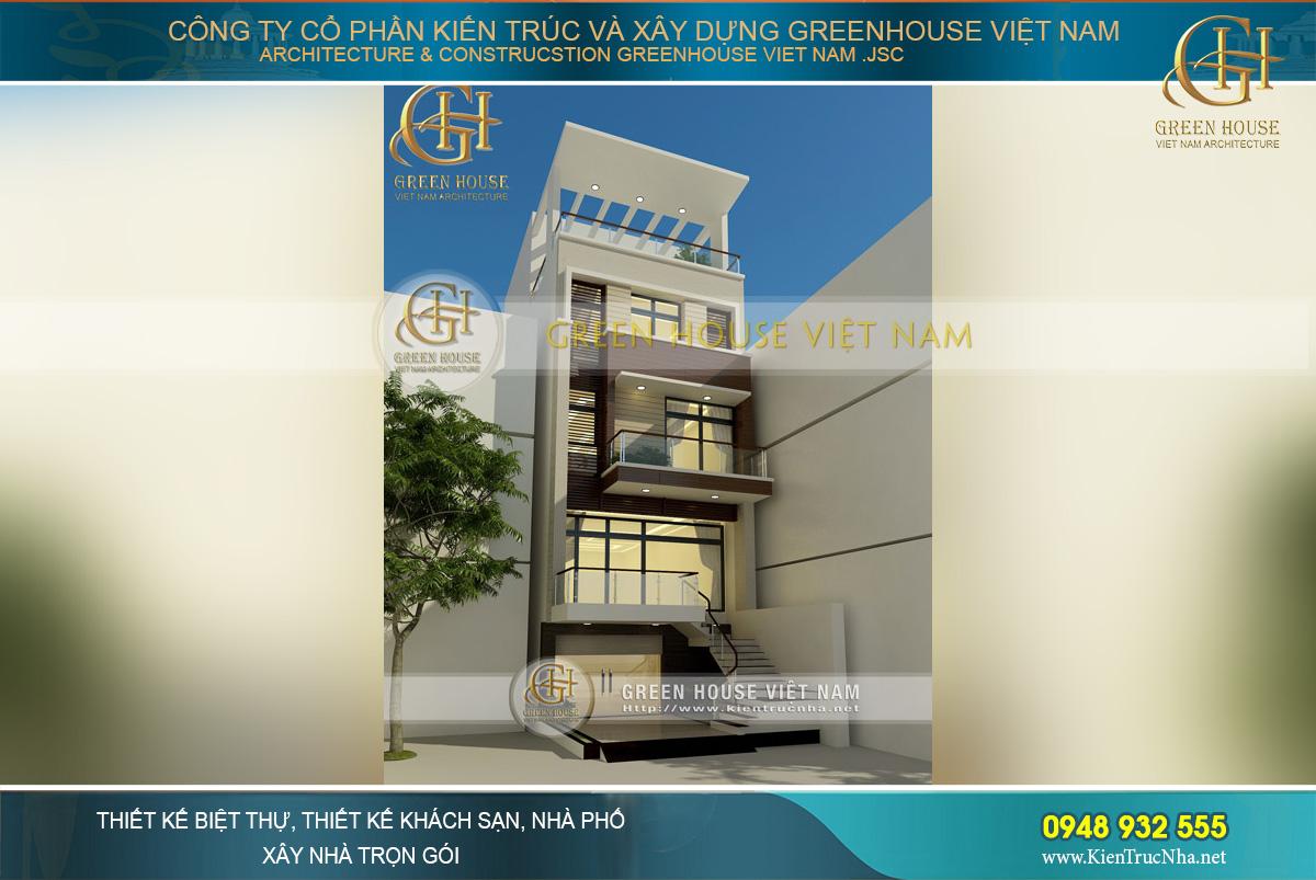 Tổng quan không gian kiến trúc mặt tiền sang trọng theo phong cách hiện đại của ngôi nhà phố 5 tầng tại Thái Nguyên