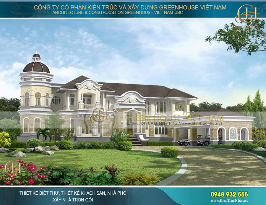 Thiết kế dinh thự cổ điển 2 tầng hoành tráng, kiêu sa tôn vinh quyền lựa sở hữu của chủ đầu tư