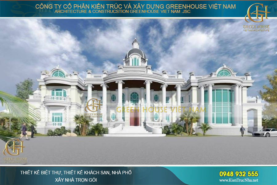 Dinh thự Pháp 2 tầng bề thế, lộng lẫy và nổi bật được tạo nên từ những đôi bàn tay khéo tay cùng trí tuệ thông minh của các KTS Green House Việt Nam
