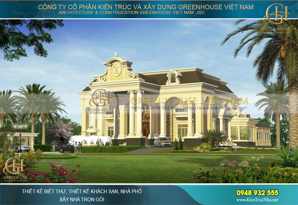Toàn cảnh không gian kiến trúc dinh thự 2 tầng cổ điển vương giả và bề thế tại tỉnh Bình Dương