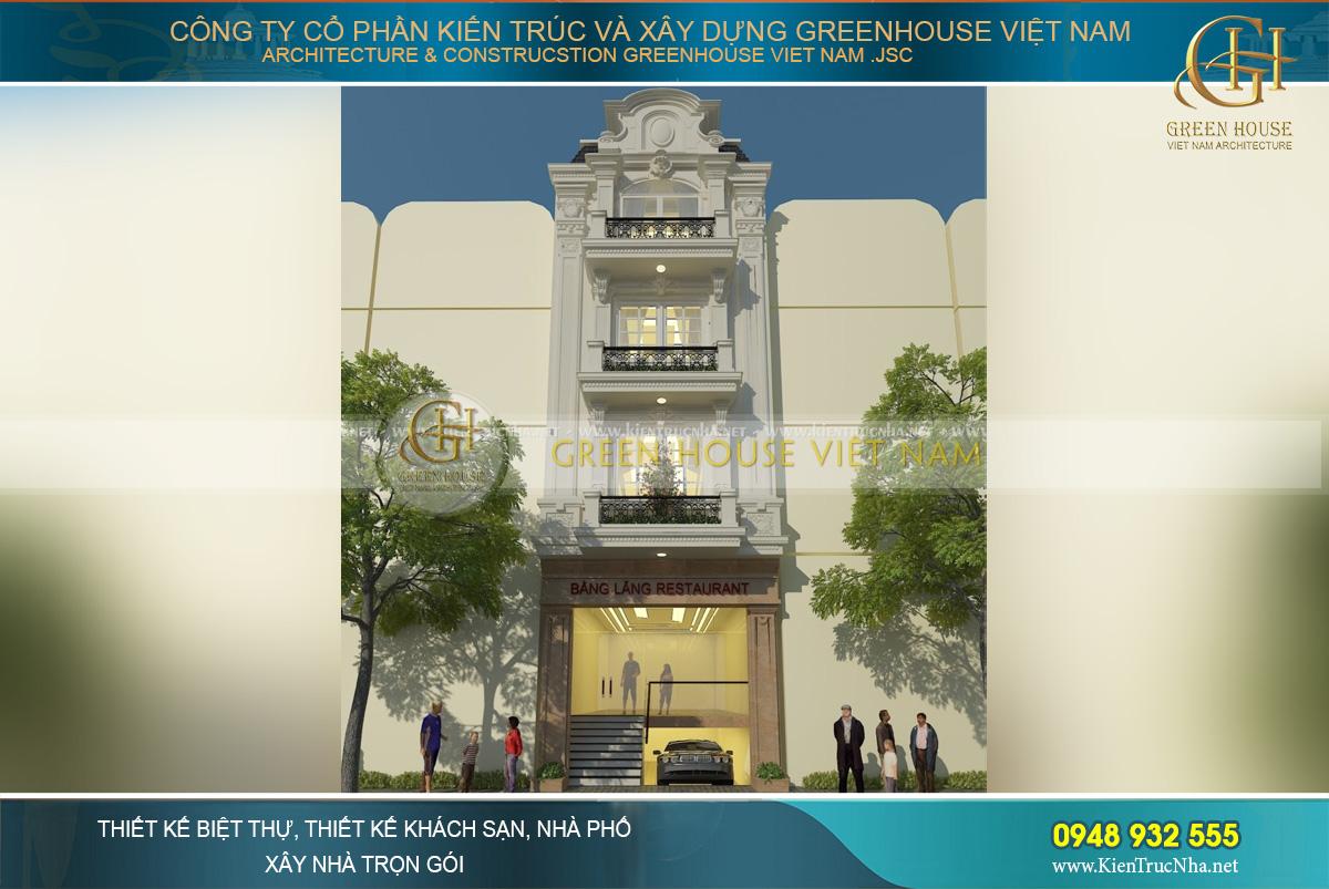 Tổng quan thiết kế công trình nhà phố kết hợp kinh doanh nhà hàng theo phong cách cổ điển sang trọng tại Hà Nội