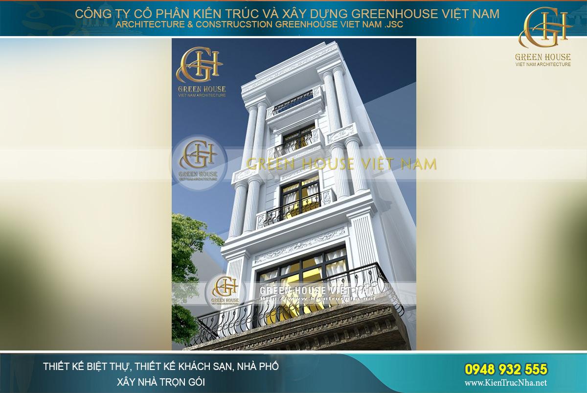 Cận cảnh các chi tiết kiến trúc, trang trí kiểu dáng tân cổ điển của nhà phố 5 tầng