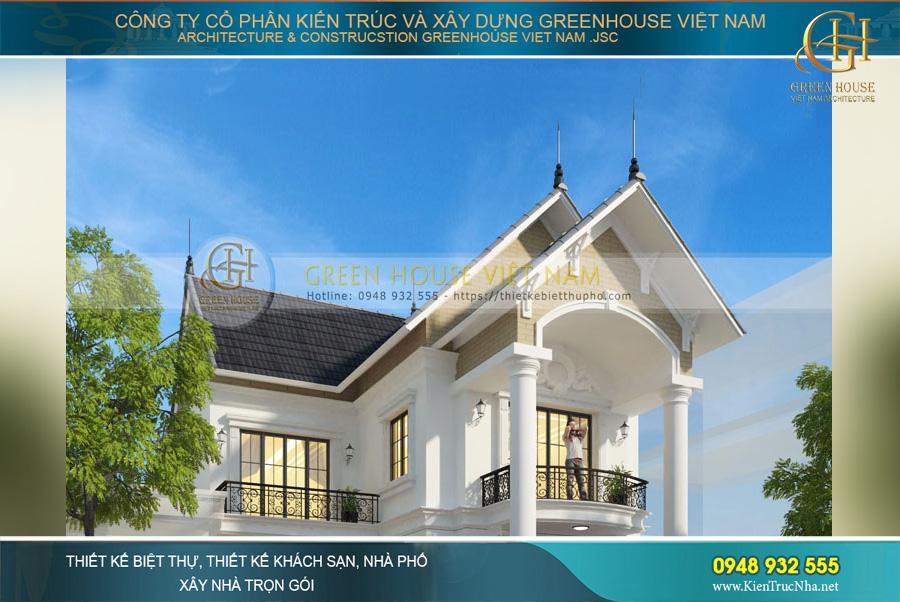 Hệ mái Thái mang đến vẻ đẹp thanh thoát, lịch lãm cho công trình nhà phố 2 tầng