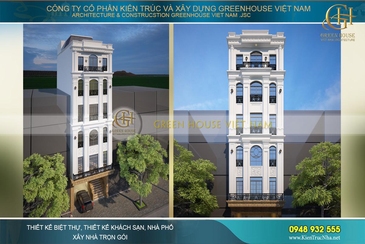 Phối cảnh ngoại thất của nhà phố tân cổ điển 6 tầng kết hợp kinh doanh