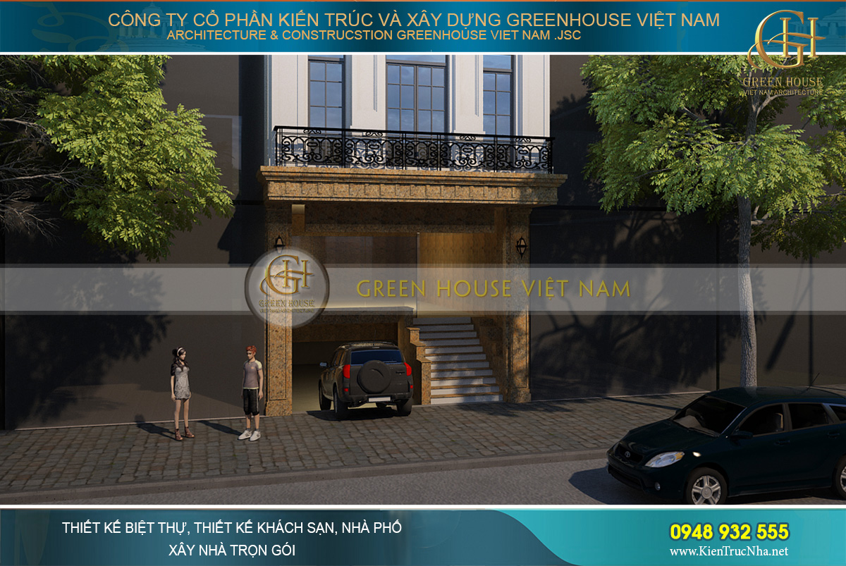 Tầng trệt của nhà phố tân cổ điển được thiết kế với gam màu ánh kim sang trọng, nổi bật