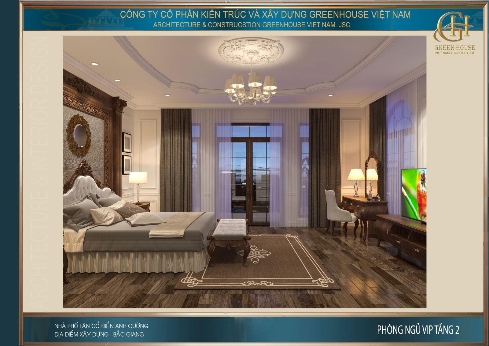 Khung cửa kính lớn mang sáng vào cho không gian phòng ngủ