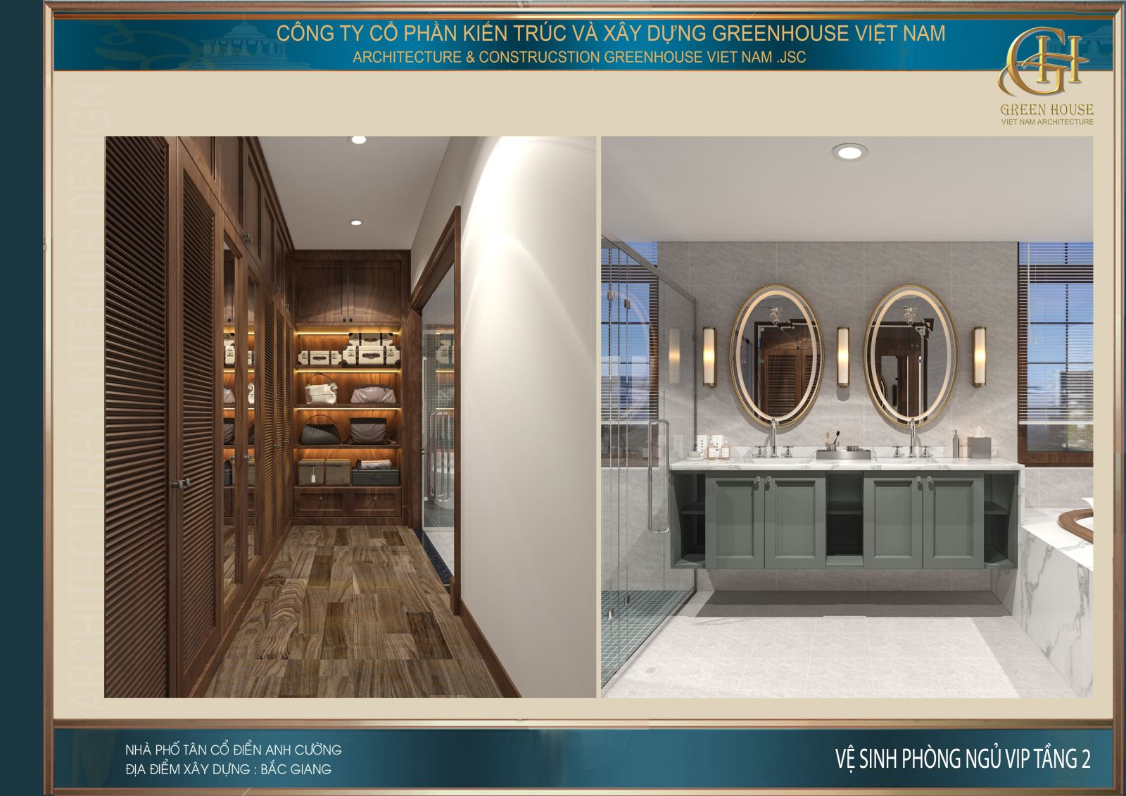 Thiết kế nội thất phòng tắm với phòng tắm kính và bồn tắm lớn