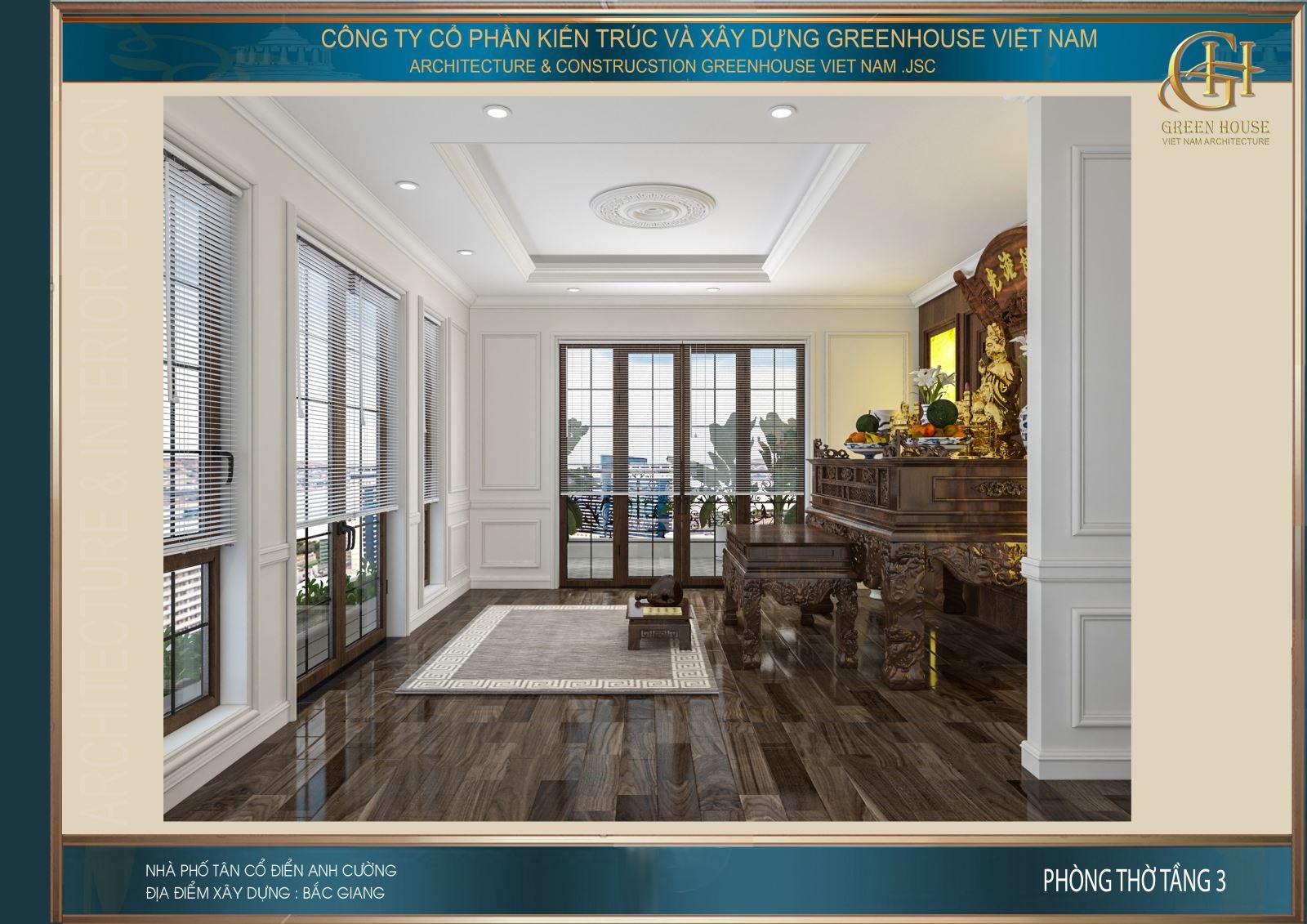 Phòng thờ cũng được các KTS thiết kế hệ thống cửa kính lớn đem đến ánh sáng tự nhiên cho căn phòng