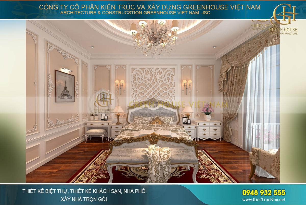 Thiết kế nội thất phòng ngủ master của biệt thự 3 tầng tân cổ điển tại Bắc Giang