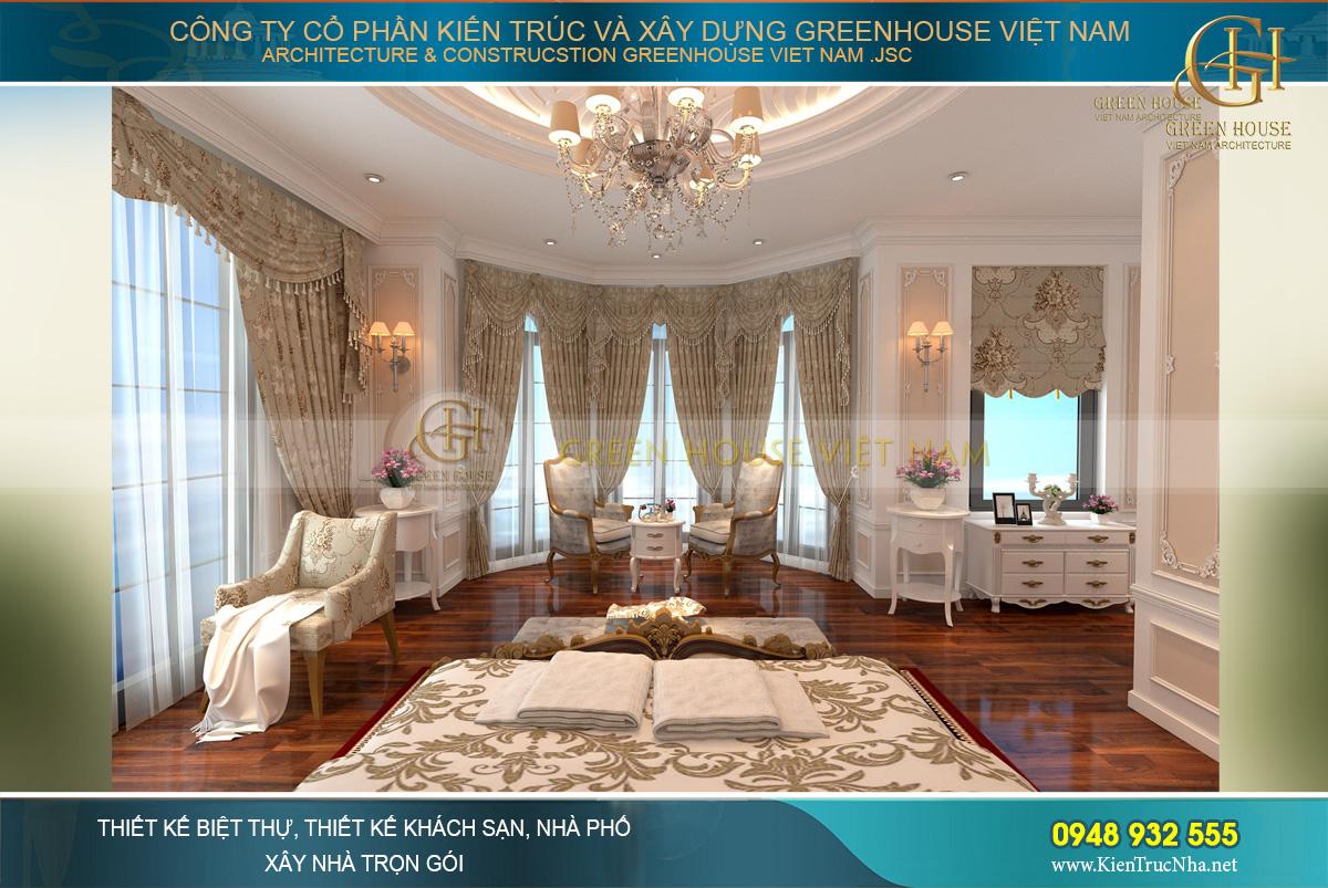 Khu vực kiến trúc bán nguyệt được thiết kế với không gian bàn trà tinh tế
