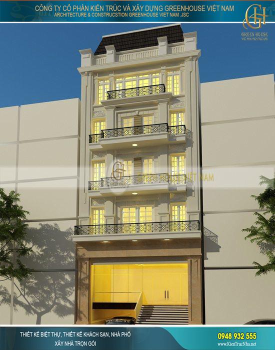 Toàn cảnh kiến trúc ngoại thất vô cùng sang trọng và tiện nghi của ngôi nhà ống 6 tầng