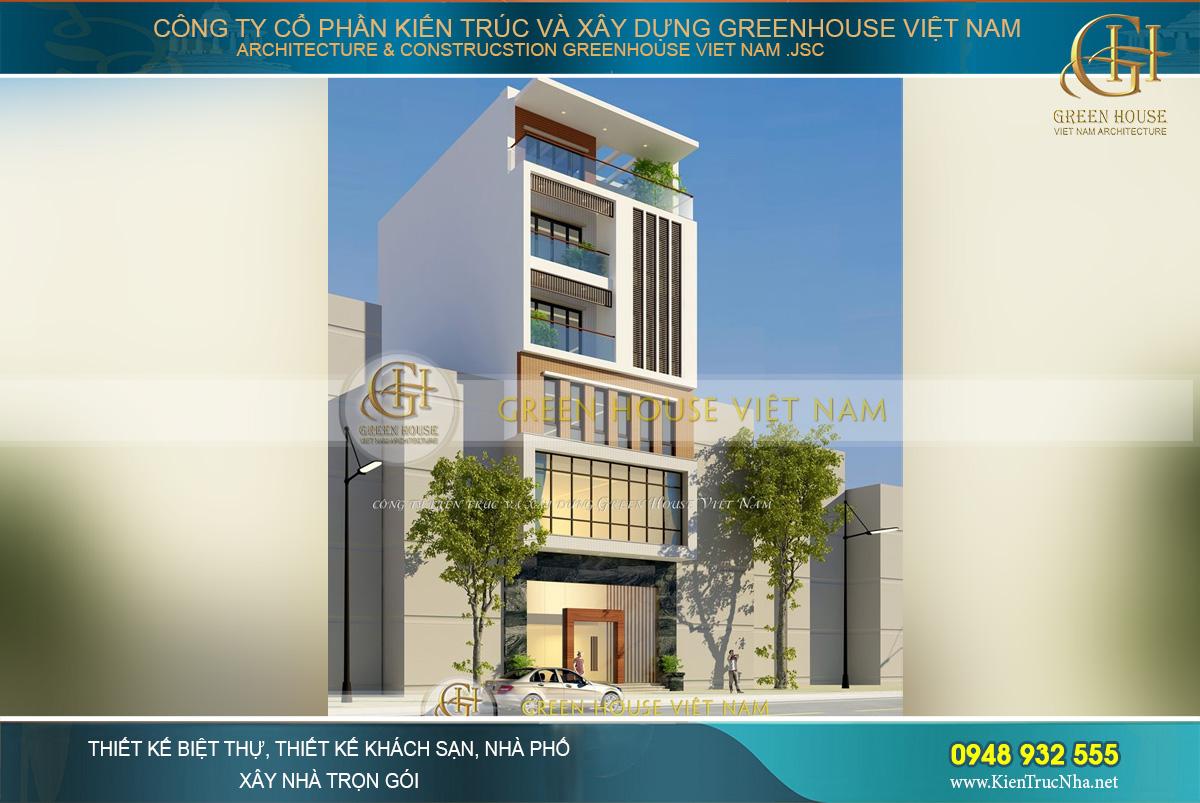 Thiết kế kiến trúc mặt tiền nhà ống hiện đại với không gian cao cấp, đường nét kiến trúc phù hợp với công việc kinh doanh