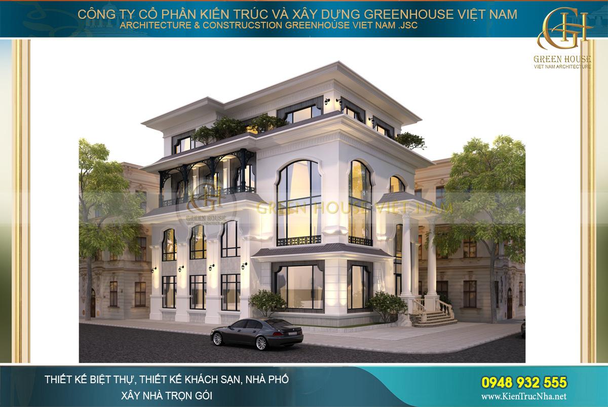 Phối cảnh mặt tiền của biệt thự kết hợp nhà hàng tân cổ điển tại Bắc Giang