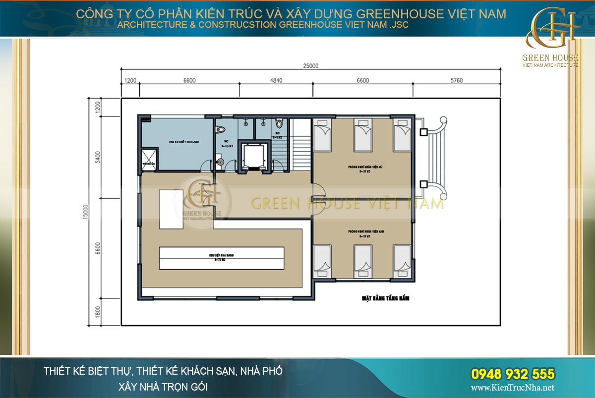 Mặt bằng công năng tầng hầm với không gian khu bếp, kho lạnh và phòng nghỉ nhân viên