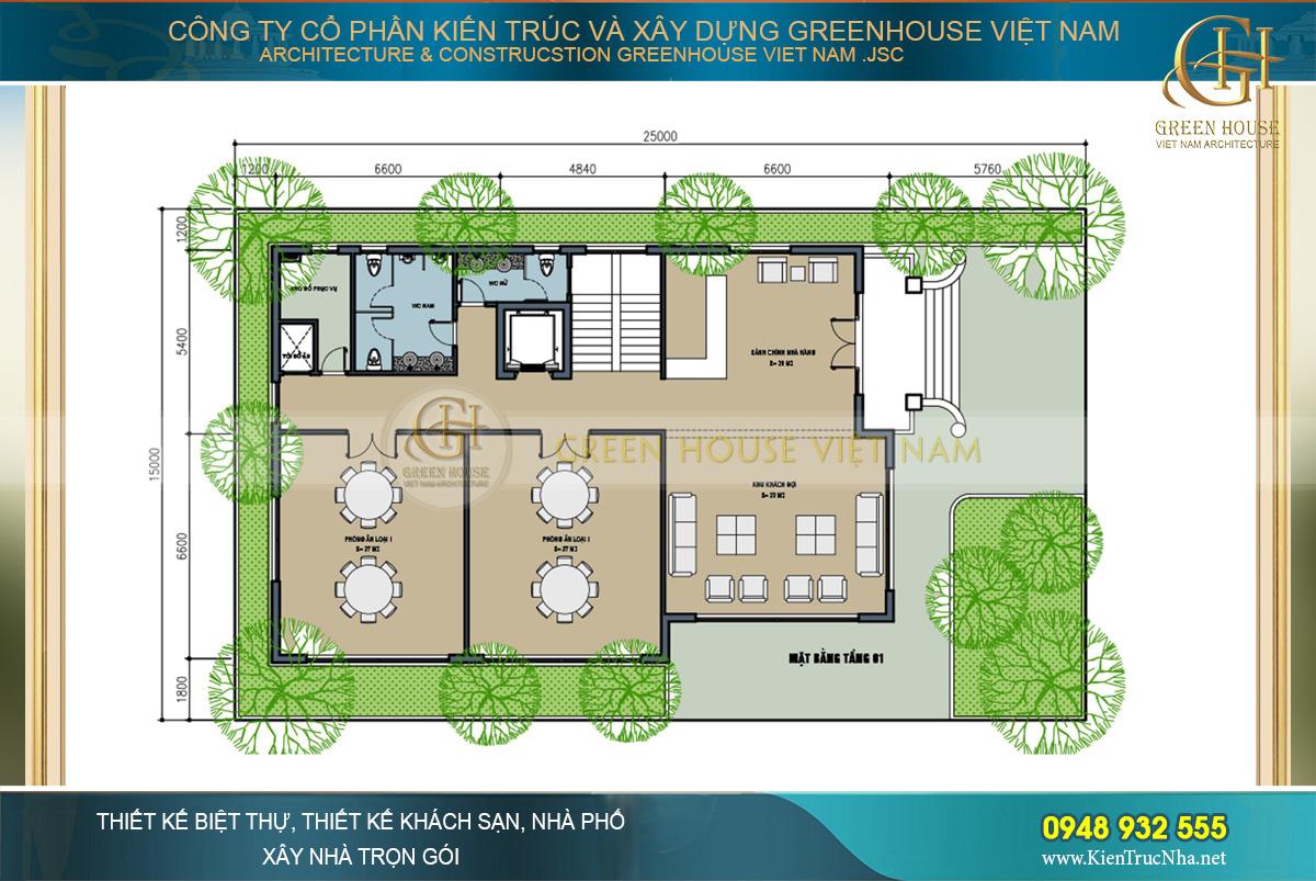 Mặt bằng công năng tầng 1 với không gian sảnh chính rộng rãi và phòng ăn