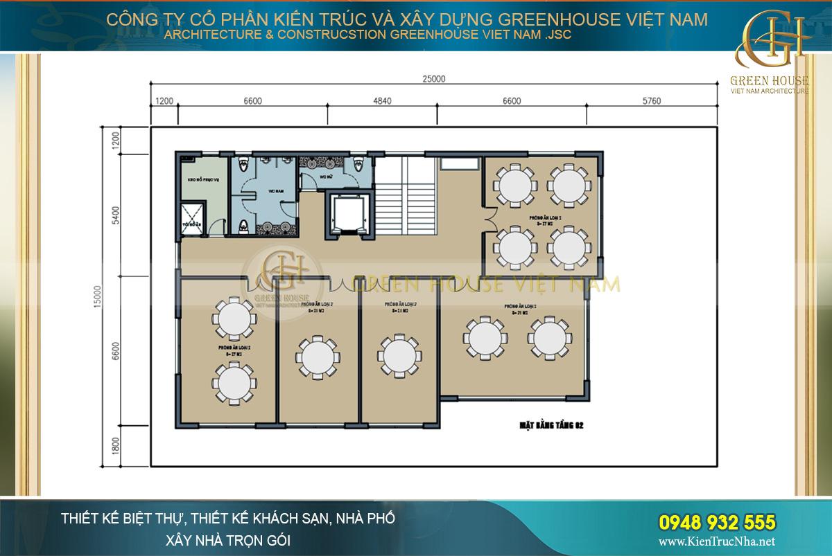 Mặt bằng công năng tầng 2 với từng không gian phòng ăn rộng rãi