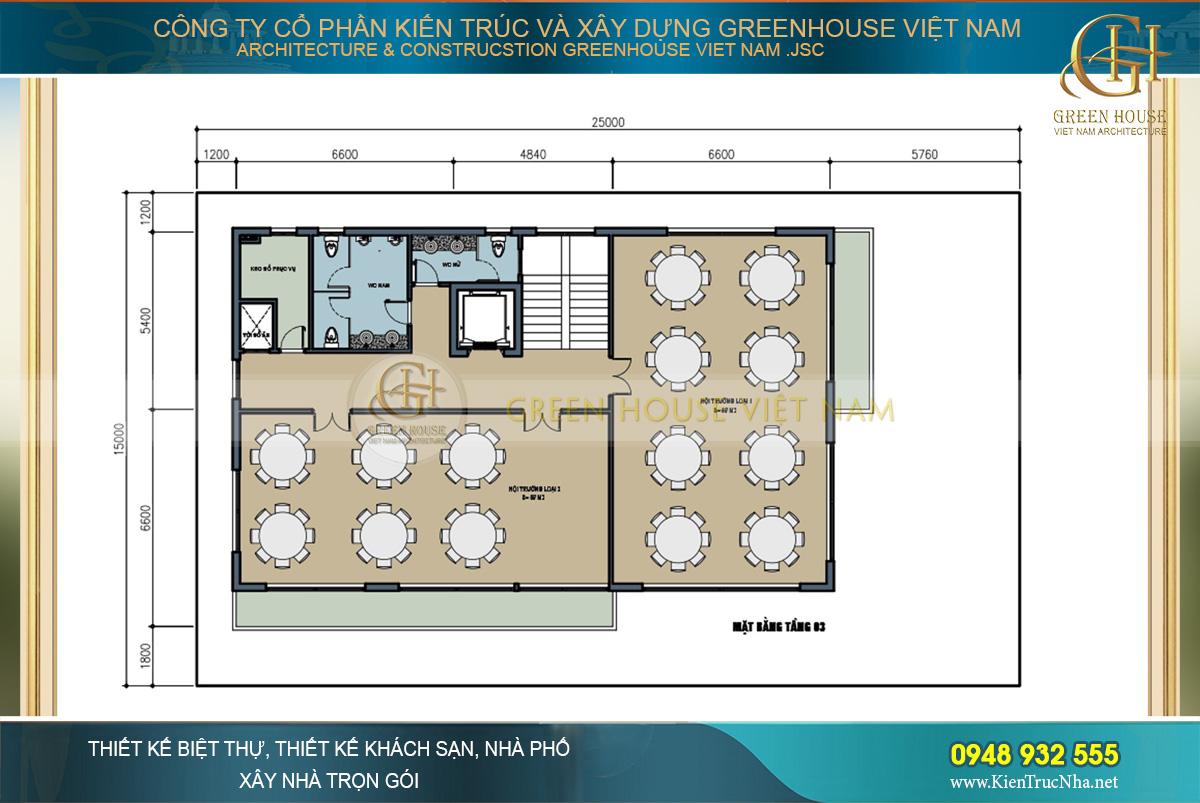 Mặt bằng công năng tầng 3 với từng không gian phòng ăn rộng rãi