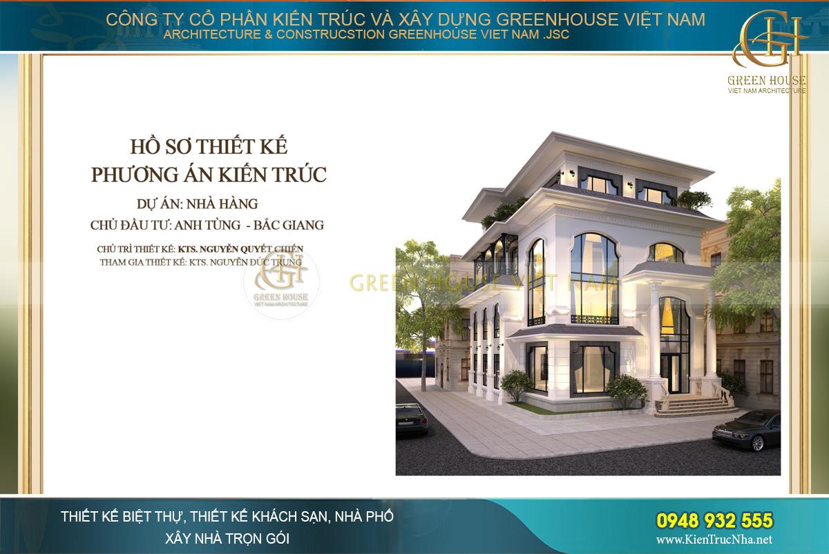 Thiết kế nhà hàng 4 tầng tân cổ điển đẹp tại Bắc Giang - CĐT Anh Tùng